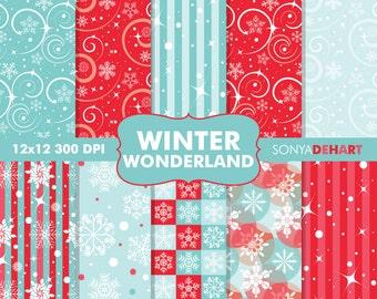 Digital Paper Winter Wonderland Snowflakes Christmas