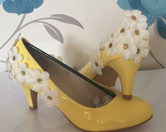 3D Daisy Heels - Lemon Yellow - Bridal Shoes - Bridesmaid - Wedding - Prom - Customised Shoes - Pearls - Crystals - Daisies - UK Size 3-8