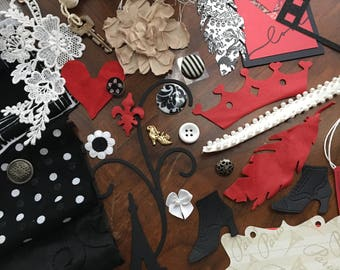 Art Journal KIT, Black White Red 48 + Pieces Lace Leather Fabric Mixed Media Textile Art Journals Collages Scrapbooking Quilts Fabric Albums