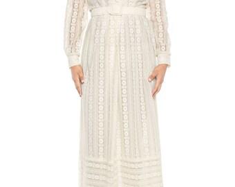 1970s Lace Maxi Dress Size: 6