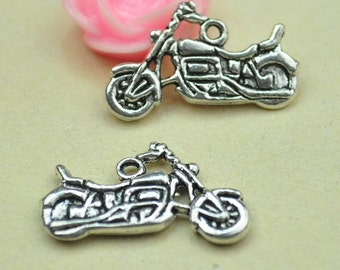 Autobicycle Charm--15pcs Antique Silver  Motorcycle Charm Pendants (double sided) 24x14mm