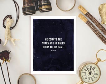 """He Counts the Stars - Printable Wall Quote 8.5""""x11"""""""