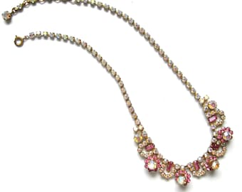 Vintage 1950s Pink Necklace | Vintage Beaded Necklace | Aurora Borealis Necklace | Flower Necklace | Statement Necklace | Pink Necklace