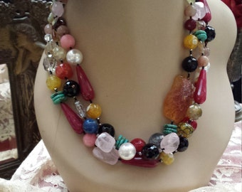 three strand Semi-precious designer necklace