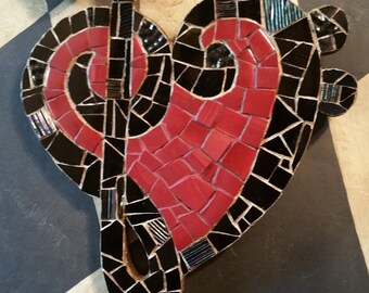 Treble Bass Clef Music Heart Wildcats Warriors mosaic