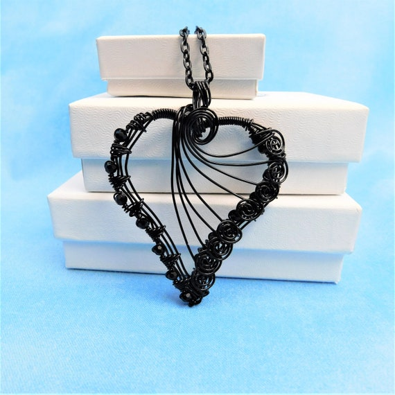 Heart Necklace Birthday Gifts for Her Wife Girlfriend Sweetheart Mother's Day Present Ideas Artisan Crafted Woven Wire Pendant Wearable Art