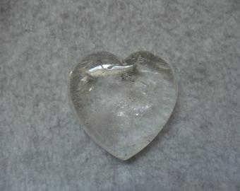 Clear Quartz Puffed Heart Clear Quartz Crystal Heart Rock Crystal Stone Heart