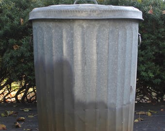 Vintage Zinc Galvanized Wheeling Metal Garbage Bin // Dog/Cat Food Storage Can // Drop Handles // 20 Gallon