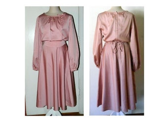 1970's Fred Rothschild of California - Belted Mauve Dress - Size 14