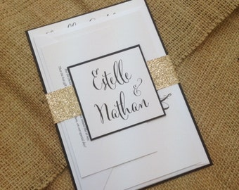 Rustic white/black 'Estelle' Wedding Invitation SAMPLE with either gold or silver glitter wrap