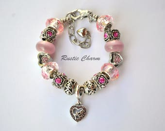 Silver Plated Pink Mom European Style Charm Bracelet with Hearts and Crystal Flower Beads,mothers day, birthday gift