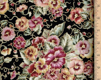 Pansy Fabric...Pansies With Shades of Gold, Pink On Black With Gold Lining.