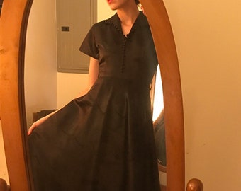 Vintage Fifties 1950s Black Satin Dress Victorian Buttons Scallops Hi Lo Hem