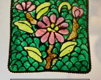 20th Century Glass Plique-a-Jour Enamel Flowers Square NBS Large Button