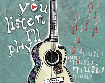 My Guitar Has Stories to Tell / original illustration ART Print SIGNED / 8 x 10