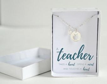 Kindergarten Teacher Gift - Teacher Jewelry - Sterling Silver Teacher Apple Necklace - Personalized Teacher Gift Grade School Teacher Gift