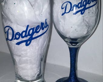 dodgers Pilsner mug and wine glass