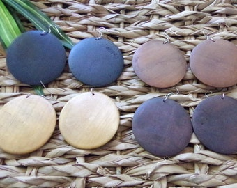 Round Wood Earrings | Wooden Earrings | Black Brown Pecan & Natural Stained Wood | Classic Wood Earrings | The Classic Collection