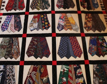 Quilt, Memory quilt, recycled clothing, tie quilt, sympathy, remembrance, king, queen, full, twin, throw, quilt from men's ties