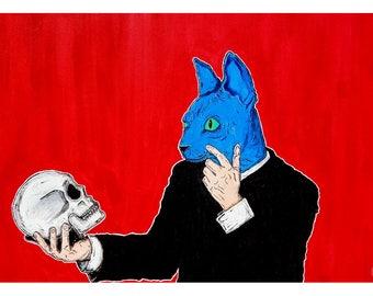 Contemplating Destruction - lowbrow art - new contemporary - 11x14 - art print - cat
