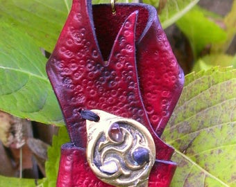 leather, brass and stones locket