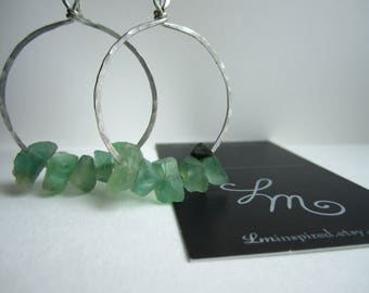 Blue Green Natural Fluorite Chip Teardrop Hammered Sterling Silver Earrings by LM-inspired