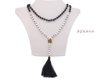 Necklace lava stone bead tassel black gold
