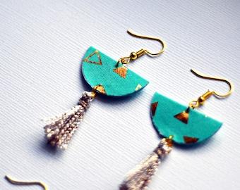 Fabric jewelry, gold patterns, gold jewelry earrings dangling geometric, fabric, PomPoms, tassels, boho