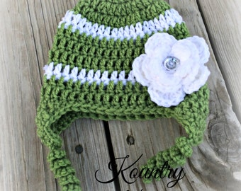 Baby Girl Hat, Baby Crochet Hat, Newborn Crochet Hat In Green and White with Flower, Hat with Earflaps (Ready to Ship)