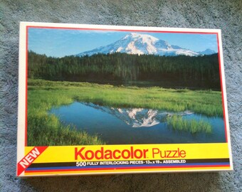 Vintage Kodacolor Puzzle 500 Piece Puzzle Reflection Lake Mt Rainer WA Roseart 1991 New Sealed Puzzle  PZL1