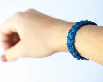 Gevlochten lederen armband / Royal Blue