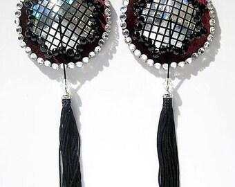 Tokyo Dome burlesque pasties Burgundy or black velvet nipple covers Rhinestone tassels Erotic lingerie Custom made lingerie