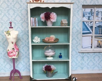 1:6 shabby chic open armoire for blythe, barbie, pullip or other 12 inch dolls