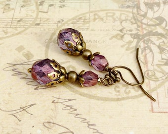 Purple Earrings, Amethyst Earrings, Victorian Earrings, Purple Gold Earrings, Czech Glass Beads, Vintage Look Earrings, Unique Earrings