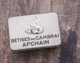 1910'ish Vintage French Candy Tin - Betises de Cambrai Afchain - Victorian Woman Eating Candy