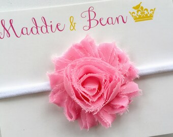 Pink Baby Headband, Baby Headbands, Baby Girl Headband, Nylon Baby Headband, Flower Headband, Baby Girl, Newborn Headband, Nylon Headband