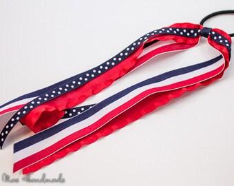 Patriotic Stripes Ponytail Ribbon Streamer