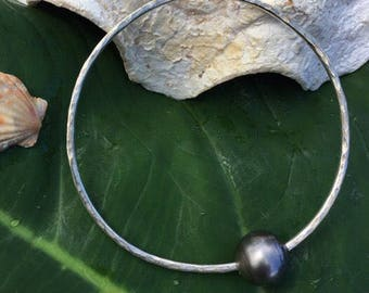 Tahitian Pearl Bangle Sterling Silver