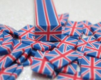 UK Union Jack flag polymer clay cane 1pc uncut United Kingdom flag for decoden miniature foods and nail art supplies
