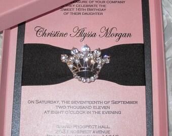 Sweet Sixteen Invitation, Princess Crown Invitation, Bat Mitzvah Invitation,  Quinceanera Invitation
