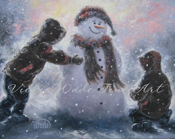 Snowman and Two Boys Art Print two brothers snowman paintings, children snow wall art, Vickie Wade art, snowman paintings