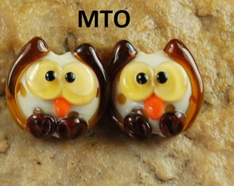 Lampwork Beads, Glass Beads, Made To Order, Owl, Bird, Earring Beads SRA #136 by CC Design