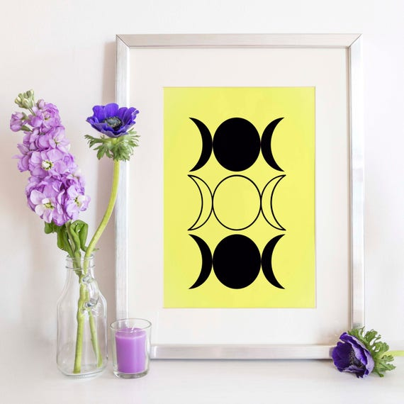 Triple Moon Goddess Witch Art Print Wiccan Home Decor Witch