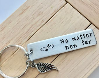 No Matter How Far ~ LIGHT WEIGHT Aluminum Key Chain with Compass Charm~Updated