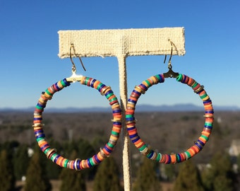 "2"" Hoops/ Polymer Clay Beads/ Beaded Hoops/ Colorful Beads/ Hoop Earrings"