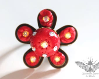 Flower ring, red polymer clay