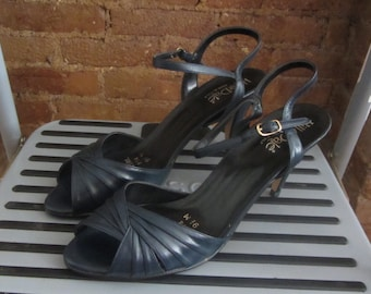 1970s navy leather strappy high heels