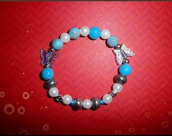 Blue, white and silver fashion bracelet