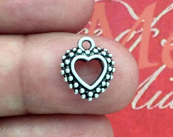 BULK 60 Open Silver Heart Charm Pendant SP0899B