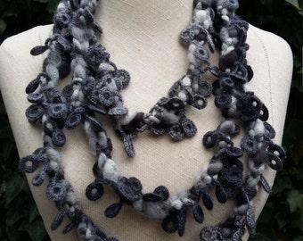 Long wool crochet necklace
